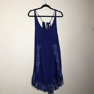 Free People blue lace trim racerback slip dress